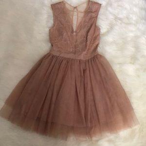Bebe Blush Pink Mesh Fit & Flair Dress